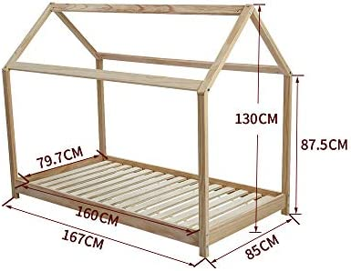 Panana Wooden Kids House Bed Frame, Solid Pine WoodTreehouse Style Childrens Floor Bed Frame for Toddlers and Children