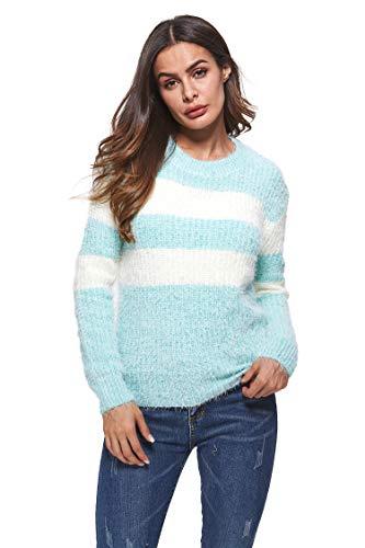 - HIKA Women's Crewneck Stripe Long Sleeve Jumper Casual Sweater Medium Stripe-4