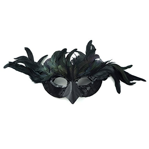 Black Feather Mask (Zucker Feather Products Raven Feather Mask, Black)