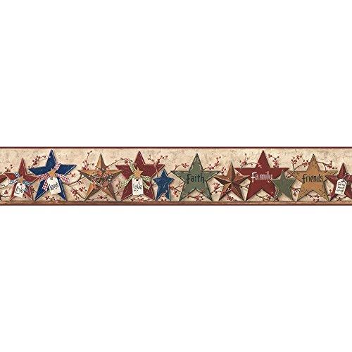- York Wallcoverings CB5505BDSMP Hearts and Crafts III Decorative Stars Border Memo Sample, 8-Inch x 10-Inch, Tan