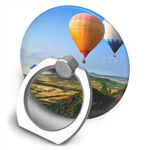 Round Finger Ring Cell Phone Holder Hot Air Balloon Seaside 360 Degree Rotating Stand Grip -