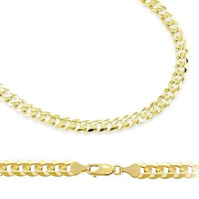 14k Solid Yellow Gold Cuban Curb Link Bracelet 3.2mm 7 by Sonia Jewels
