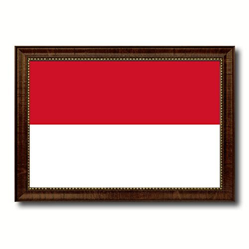 Indonesia Country Flag Canvas Print with Brown Picture Frame Gift Ideas Home Decor Wall Art Decoration by SpotColorArt