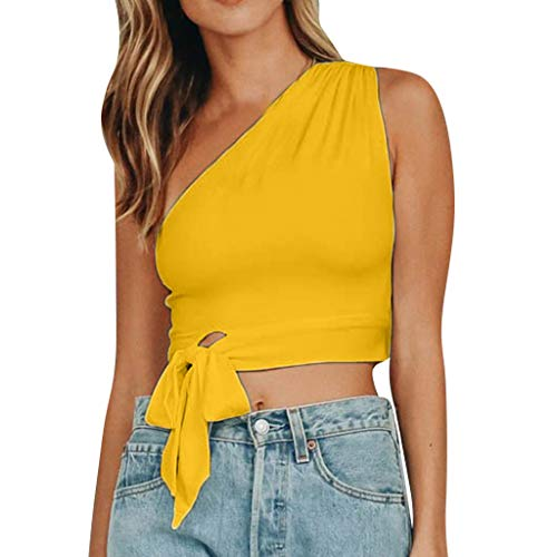 (Qingell ❤️ Women Summer T-Shirt Top, Solid Casual Off-Should Sleeveless Knot Bow T-Shirt Tops Blouse Yellow)