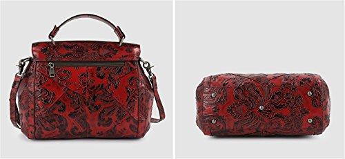 La mujer Xinmaoyuan bolsos de cuero Bolsos de impresión genuino Retro cubos de hombro,amarillo Rojo