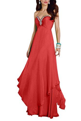 mia Festlichkleider Promkleider Linie Herzausschnitt Chiffon Rot Ballkleider mit Rock A Abendkleider Langes Braut Partykleider La vdwPqgxv