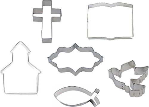 6 Piece Bible Study Christian Cross Dove Cookie Cutter Set ~ Communion Cookies