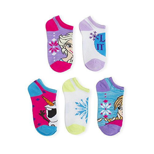 Frozen Elsa Anna & Olaf 5 Pack No Show Girls Socks Size M 7.5-3.5