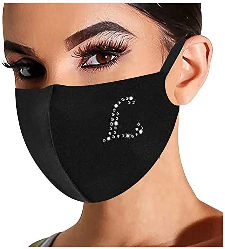 【USA in Stock】 Rhinestone Letter Print Face Mask,Washable Reusable Mouth Cover Safety Protect Breathable Bandanas for Adult