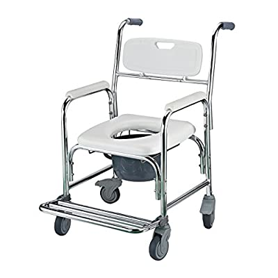 """Amazon.com: HomCom 36"""" Toilet Commode Transport Chair with Wheels ..."""