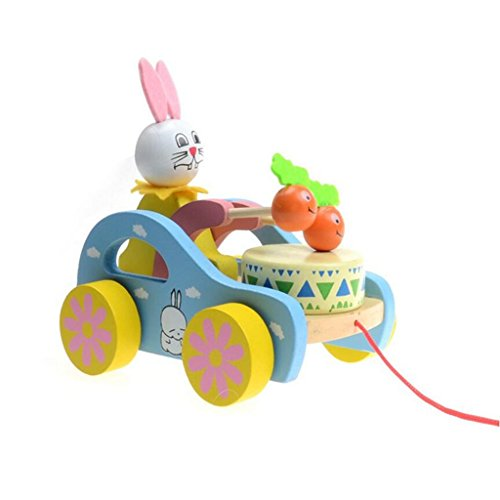 edealing(TM) Wooden Cute Kid Rabbit Beating Drum Pulling Cart Educational Toy for Children Toddler
