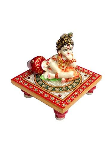 Indyhaat Marble Laddu Gopal Idol, 10.16cm, Multicolour, 1 Bal Krishna Idol With Chowk