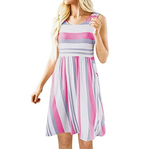 Sunhusing Ladies Casual Round Neck Striped Print Sleeveless Waist-Tie Pleated Hem Summer Mini Short Dress Pink