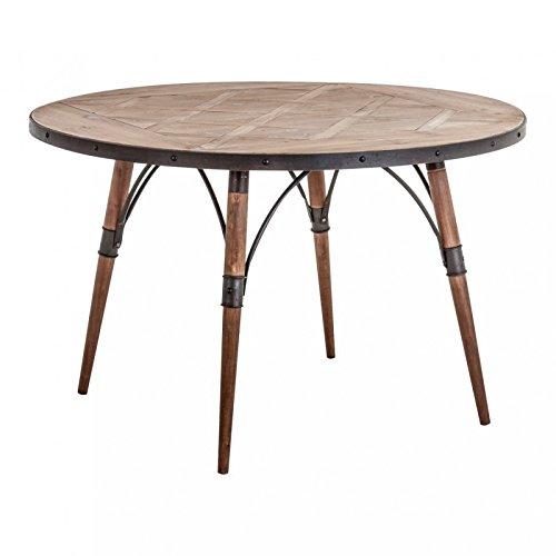 Mesa Vintage redondo Natural, estructura de hierro y madera de ...