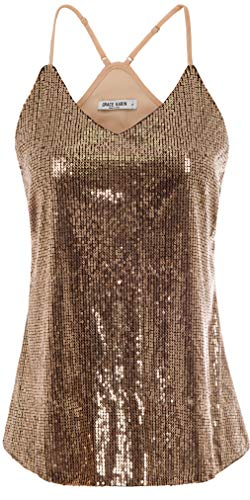 - GRACE KARIN Women Sequin Sleeveless Party Tank Tops Size 2XL,Rose Gold
