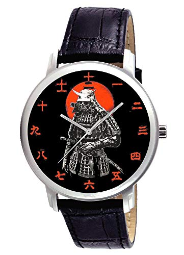 Rare Antique Samurai Print, Japanese IRONCLAD Armor Traditional Nippon Kanji DIAL Brass Wrist Watch