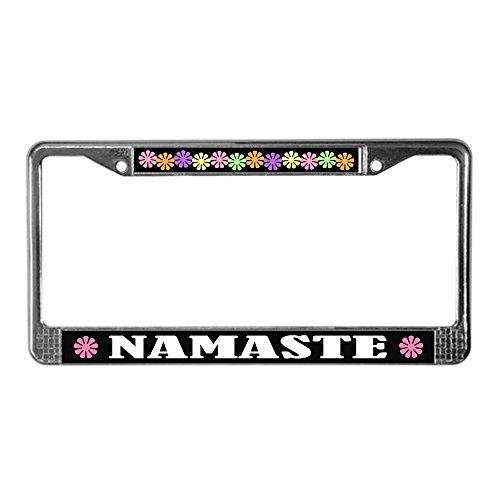 (CafePress Namaste Greeting License Plate Frame Chrome License Plate Frame, License Tag)