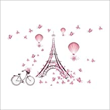 Eiffel Wall Sticker - 1 Piece Romantic Eiffel Tower Love Couple Wall Stickers Decals Living Room Decoration Bicycle Flower Hot Air Balloon Wedding Decoration