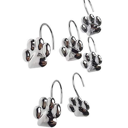 ZILucky 12pcs Set Cat Paw Print Decorative Shower Curtain Hooks Rust Proof Rings Hangers Home Bathroom Decorative Polished Chrome for Room - Polished Paw Silver Charm
