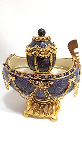 - Antique Faberge Egg Authentic Goose Egg Decorated with Simulated Diamonds & Pearls Embellished with 24ct Gold Egg Faberge Figurine Musical Trinket Box Limited Edition Collectible Item