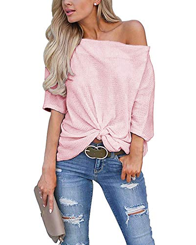 Mafulus Womens Off The Shoulder Shirts Waffle Knit Knot Front Batwing Sleeve Loose Tunic Tops Pink