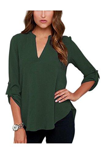 Se t Green Femmes Dessus Chemisier Shirt T Tranch Retrousser Vosujotis Bureau Occasionnelles ZwTOqa55