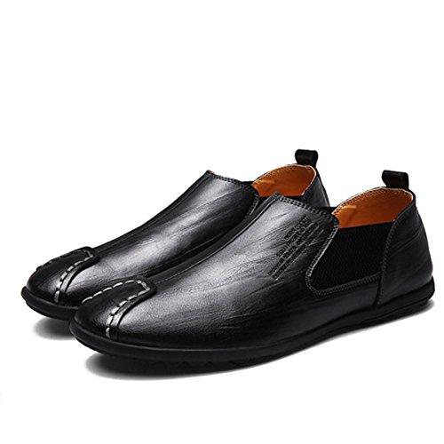 casual scarpe Gracosy Barca Uomo comode On Scarpe modello Casuale in Mocassini liscia Slip Scarpe Driving resina nero Scarpe Piedi piatte Da Scarpe Scarpe Uomo in britannici loafers pelle Moda CUnqT