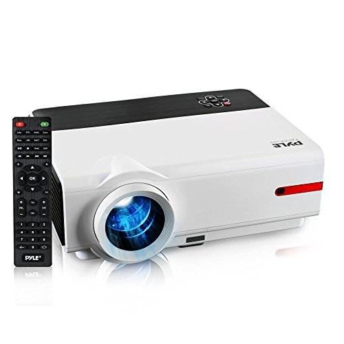 "Updated Pyle Video Projector 5.8"" LCD Panel LED Lamp Cinema Home Theater with Built-in Stereo Speakers 2 HDMI Ports & Keystone Adjustable Picture Projection for TV PC Computer and Laptop PRJLE83"