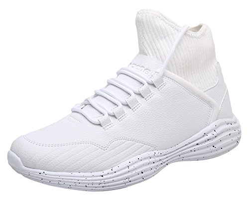 IF FEEL Men's White Fashion Casual Slip Resistant High Top Sneakers Cross-Training Sports Running Walking Shoes - Size 11 High Top Athletic Shoes