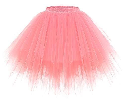 Bridesmay Women's Tutus Tulle Skirt 50s Vintage Petticoat Ballet Bubble Skirts Coral L