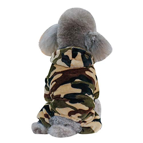 Letdown Pet Winter Coat,Puppy Camouflage Hooded Sweatshirt Cat Dog Warm Apparel Costume (XL, Green) (Carrier Dog Camouflage)