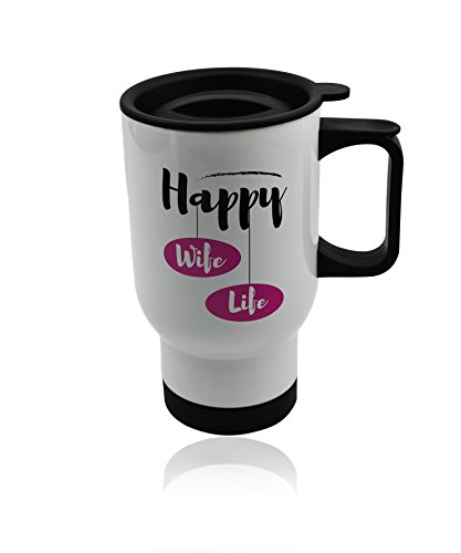 Wife Travel Mugs - White Metal Coffee Mug gifts. Wife's Birthday Gift Cup 14 oz. Anniversary gift idea for her. Valentines day romantic -