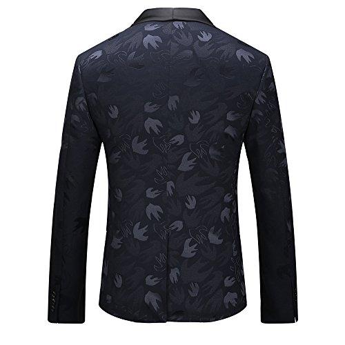 GOMY Giacche Blu Uomo Elegante Blazer Stampato