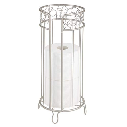 mDesign Decorative Free Standing Toilet Paper Holder Stand with Storage for 3 Rolls of Toilet Tissue - for Bathroom/Powder Room - Holds Mega Rolls - Durable Metal Wire Design - Satin