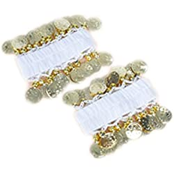 AvaCostume Belly Dance Chiffon Gold Coin Wrist Ankle Arm Cuffs Bracelets, White