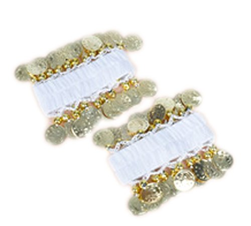 [AvaCostume Belly Dance Chiffon Gold Coin Wrist Ankle Arm Cuffs Bracelets, White] (Belly Dance Costumes Custom)