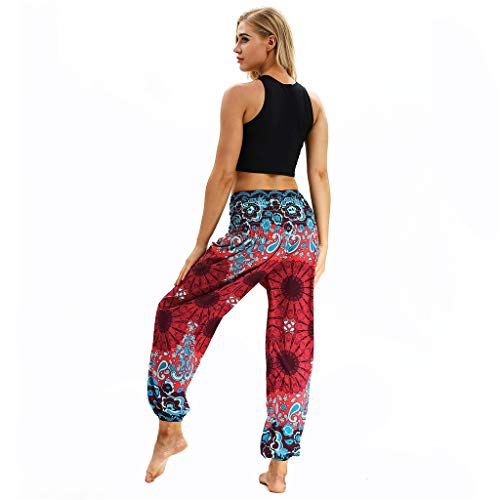 BBZUI Men Women Thai Harem Trousers Boho Festival Hippy Smock High Waist Yoga Pants with Pocket Fashion 2019 (Red, M)