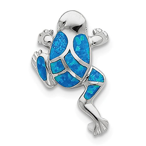 Slide Inlay Pendant Jewelry (Roy Rose Jewelry Sterling Silver Created Blue Opal Inlay Frog Slide Pendant)