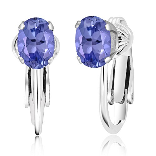 1.50 Ct Oval Blue Tanzanite 925 Sterling Silver Clip-On Earrings by Gem Stone King