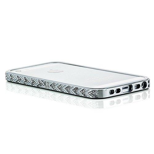 Saxonia. Aluminium Diamanten Case für Apple iPhone 5S / 5 - Luxus Bumper und perfekter Schutz. Farbe: Silber