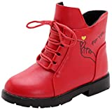 VECJUNIA Girl's Cartoon Ankle Martin Boots Zip Up Shoes School Uniform (Red, 2.5 M US Little Kid)