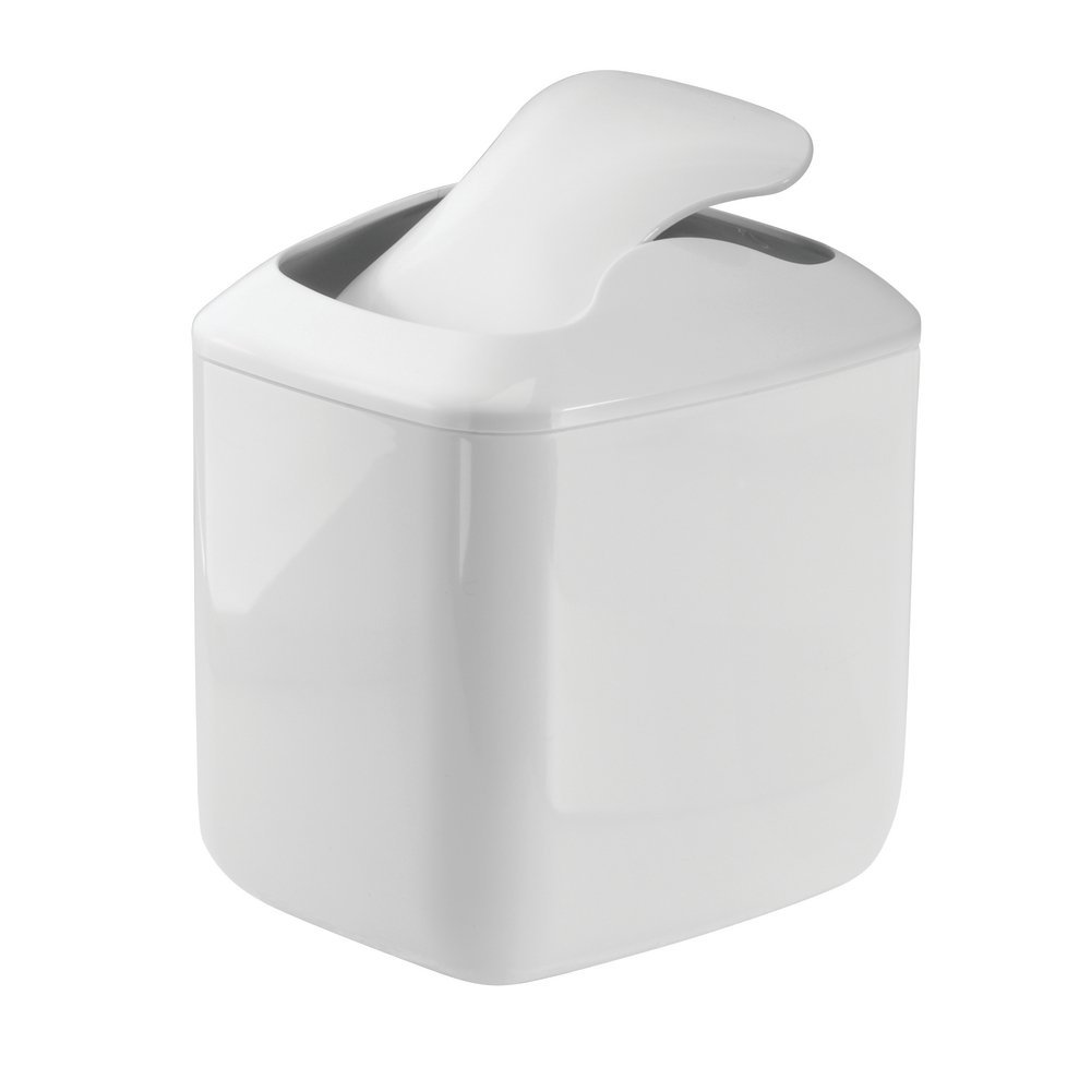 mDesign Modern Plastic Square Mini Wastebasket Trash Can Dispenser with Swing Lid for Bathroom Vanity Countertop or Tabletop - Dispose of Cotton Rounds, Makeup Sponges, Tissues - White