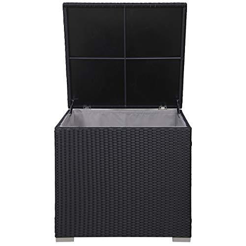 SVITA Kissenbox Polyrattan Gartenbox Schwarz Box Erweiterung LUGANO CALIFORNIA