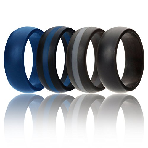 ROQ Silicone Wedding Ring For Men, Silicone Rubber Band Police 4 Pack- Blue, Black, Grey - Size 12