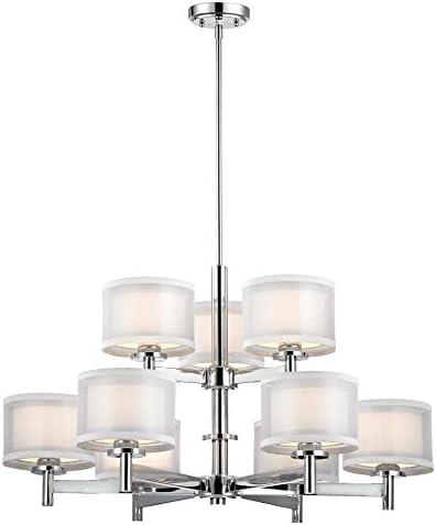 Dolan Designs 1272-26 Double Organza 9 Light 2 Tier Chandelier, Chrome
