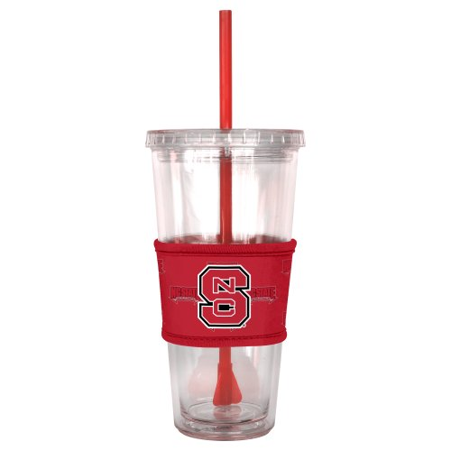 NCAA North Carolina State Wolfpack Tumbler with Neoprene Sleeve and Straw, 22-Ounce - Ncaa Tumbler
