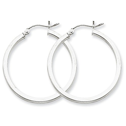 Designs by Nathan 925 Sterling Silver Round Seamless Square Tube Hoop Earrings, Choice of Sizes (Slender 2mm x 30mm (about 1 3/16