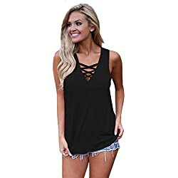 Summer Shirts for Women Loose Fit Relaxed Flowy Knit Tank Top Tees (S, Black)