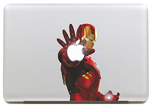 "DallowayCabin Marvel Comic Super Hero Iron Man/SpiderMan Removable Vinyl Sticker Decal for Apple Macbook/Macbook Air/Macbook Pro 13""/15""/17"" (Iron Man Holding Apple, Macbook 15"")"