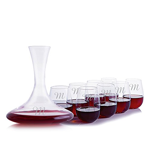 Personalized Ravenscroft Lead-free Crystal Excaliber Magnum Red Wine Decanter & 8 Stemless Bordeaux / Cabernet / Merlot Glasses Engraved and Monogrammed - Great Anniversary, Birthday, or Wedding Gift